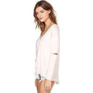 NASTY GAL Blush Pink Cold Elbow Top Shirt Size S
